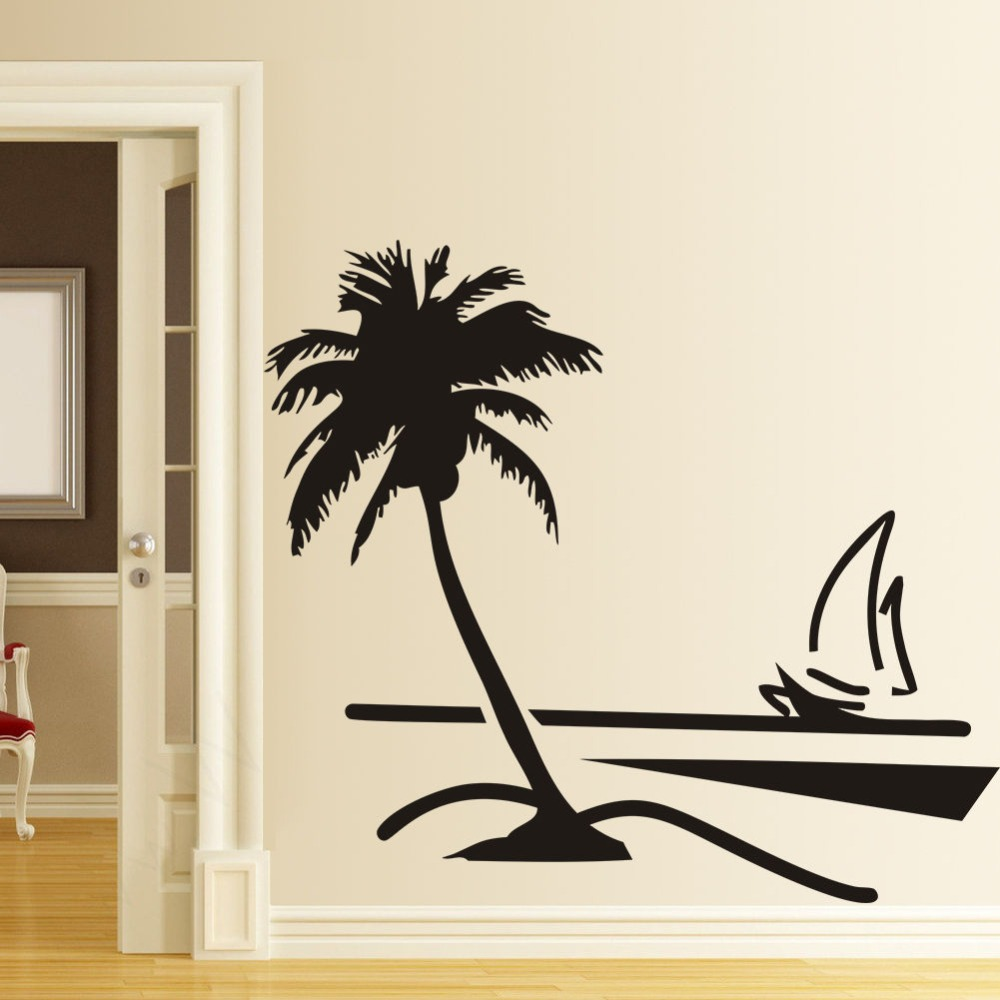 89x78cm Large Vinyl Paper Wall Stickers Home Decor Decal Coconut Palm Tree Sailboat Decals Art Decoratooom