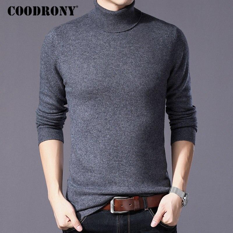 COODRONY чистой мериносовой шерсти свитер Для мужчин зимние толстые теплые водолазки Для мужчин свитера кашемировый пуловер Для мужчин Рождес...