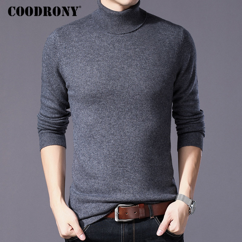 COODRONY Pure Merino Wool Sweater Men Winter Thick Warm Turtleneck Mens Sweaters Cashmere Pullover Men Christmas Pull Homme W004-in Pullovers from Men's Clothing    1