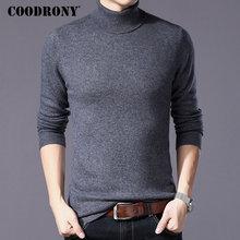COODRONY czysty sweter z wełny merino mężczyźni zima gruby ciepły golf męskie swetry kaszmirowy pulower mężczyźni boże narodzenie Pull Homme W004