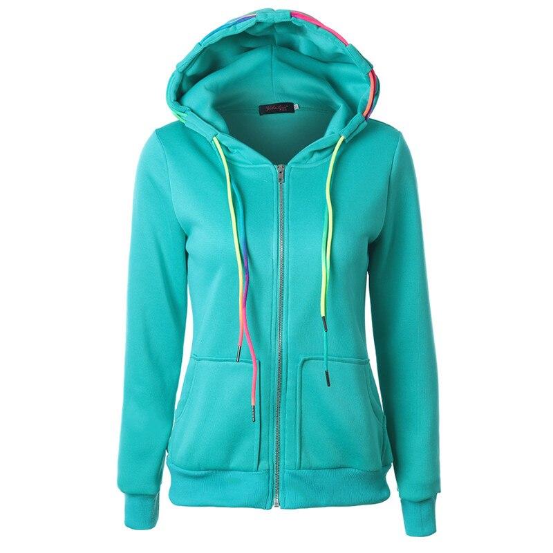 OLGITUM hoodies font b Womens b font Sweatshirts Solid Color HoodiesCotton Blend Slim Ladies Tracksuits Zipper