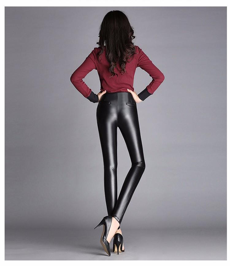 High Quality Black Pants Women Autumn Fashion Sexy Zipper Pu Leggings Pencil pants Pantalon Femme Leather Pants Plus Size 2016 f
