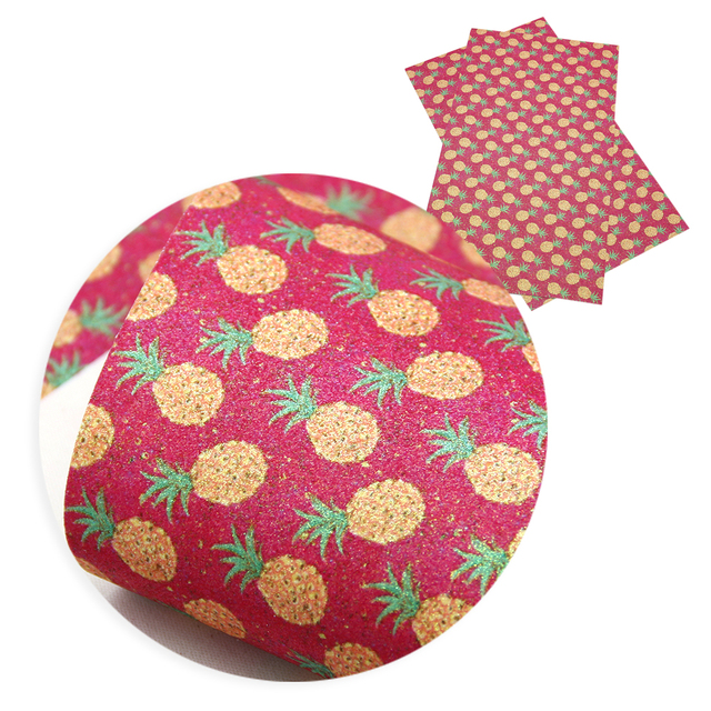 David accesorios 20*34 cm piña fruta corazón fino brillo imitación cuero sintético tela, material de la bolsa del pelo DIY, 1Yc6152