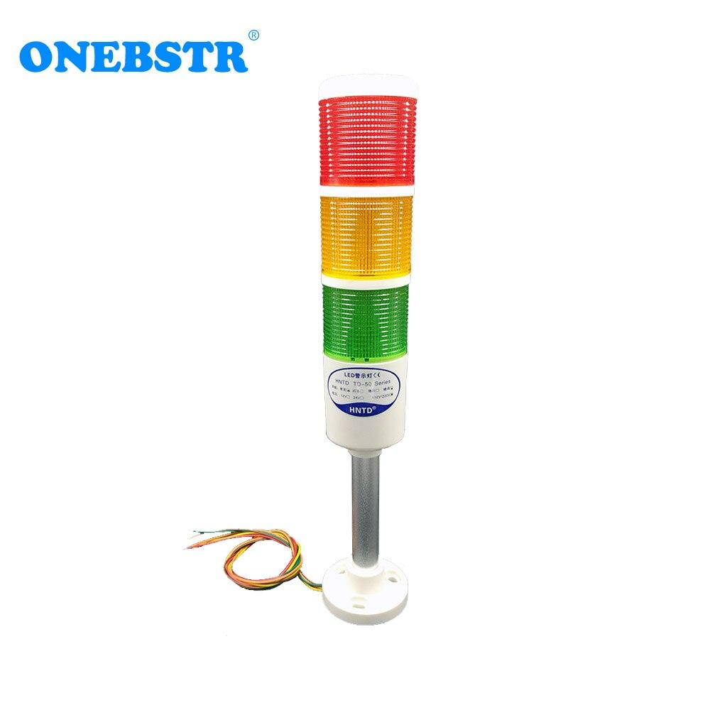 HNTD 220V LED Semaphores Indicator Warning Light TD50 Rod Type Often Bright 3 Color CNC Machine Tools Free Shipping Freeshipping