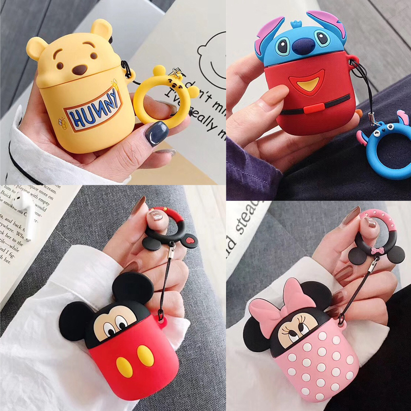 Image 2 - Bluetooth Earphone Case for Airpods Protective Cover Bag Anti lost Strap Cute Cartoon Silicone Charging box case Accessories-in Earphone Accessories from Consumer Electronics