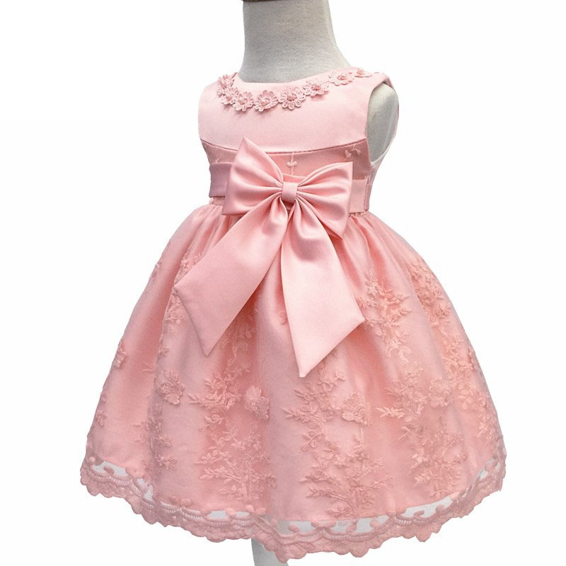 Christmas Dresses For Girls O-neck Princess Party Dress Baby Girl Birthday Clothes Cotton Sweet Bow Children Clothing 4ds100
