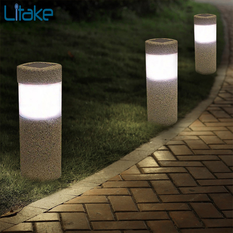 Litake Outdoor Waterproof Lighting Cordless Solar Powered LED Garden Lights Light-operated Sand Blast Lamp