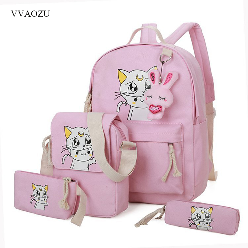 Anime Sailor Moon School Bags for Teenage Girls Canvas Bookbags Backpack 4pcs/set Student Bagpack Knapsacks Rucksack ...