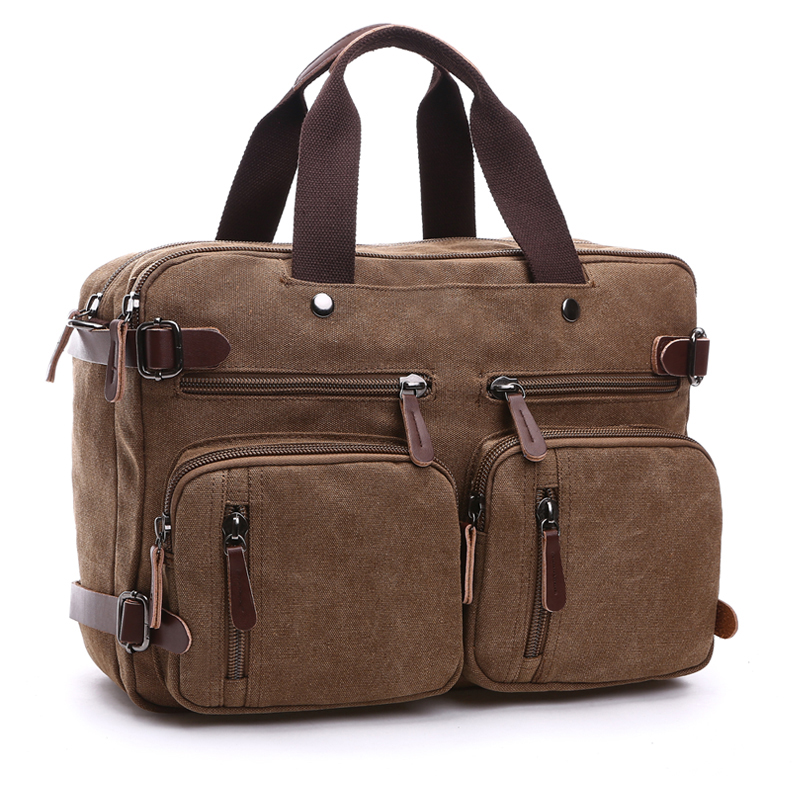 Men Canvas Bag Leather Briefcase Travel Suitcase Messenger Shoulder Tote Back Handbag Large Casual Business Laptop Pocket