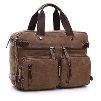 Bolso de lona de cuero para hombre, maletín de viaje, bandolera de hombro, bolso de mano trasero, grande, informal, para negocios, portátil