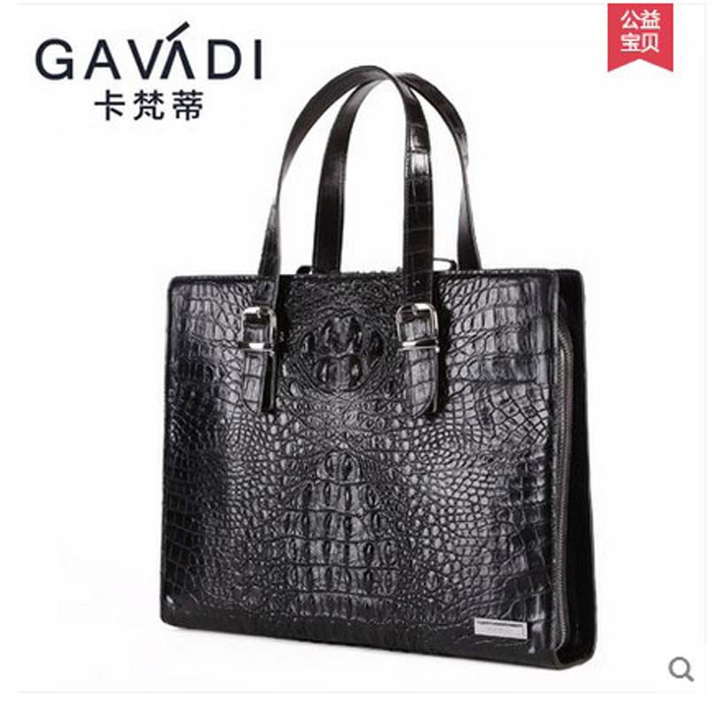 kafandi genuine leather crocodile man bag business men handbags laptop bag 2017 new men's briefcase Crocodile bags cezaris 2100 01