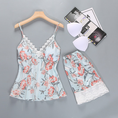 Daeyard Sleep Lounge   Pajama     Set   Sexy Satin Sleepwear Women Summer Pyjama Fashion Lace Floral   Pajamas   Home Clothes with Chest Pad
