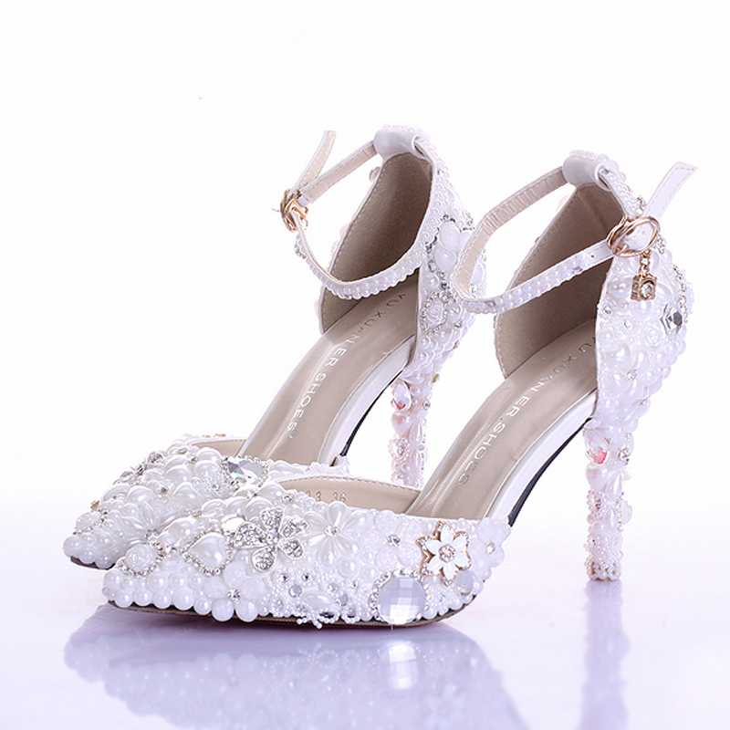Fashion Handmade White Pearl Wedding Shoes Pointed Toe Ankle Strap ...