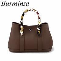 Burminsa Classic Garden Party Shoulder Bags Girl Small Tote Designer Handbags High Quality Soft PU Leather Women Crossbody Bags