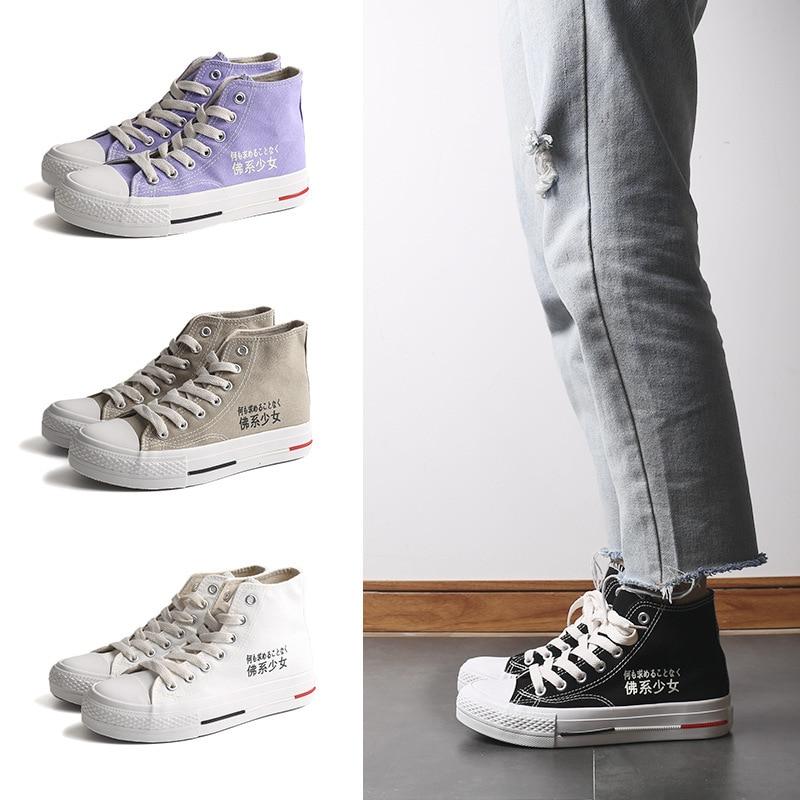 New Coreano de Alta Ajuda sapatas de Lona das Mulheres Cor Sólida Violeta Vulcanização Sapatos Direto Da Fábrica-MAM