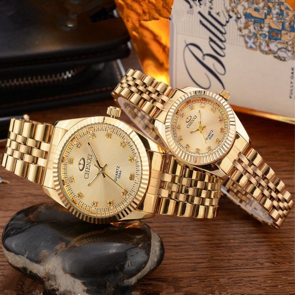 CHENXI Golden New Clock gold Fashion Women Watch full gold Stainless Steel Quartz Watches Wholesale Women Gold watch PENGNATATE 2016 new ladies fashion watches decorative grape no word design gold watch stainless steel women casual wrist watch fd0107