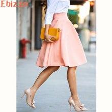 Ebizza Fashion Office Lady Pleated Short Skirts Zipper 2017 Summer Europe Style Female Skirt