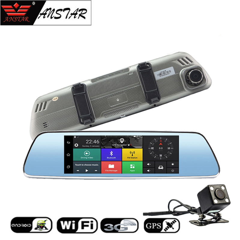 ANSTAR 7'' Car Mirror DVR 3G Android 5.0 WiFi GPS 1080P Dash Cam Touch Screen 140 Wide Angle Video Recorder Registrar Camera car dvr recorder android gps navigation 7 inch touch screen mp3 mp4 player wifi 3g fm transmitter car video recorder dash cam