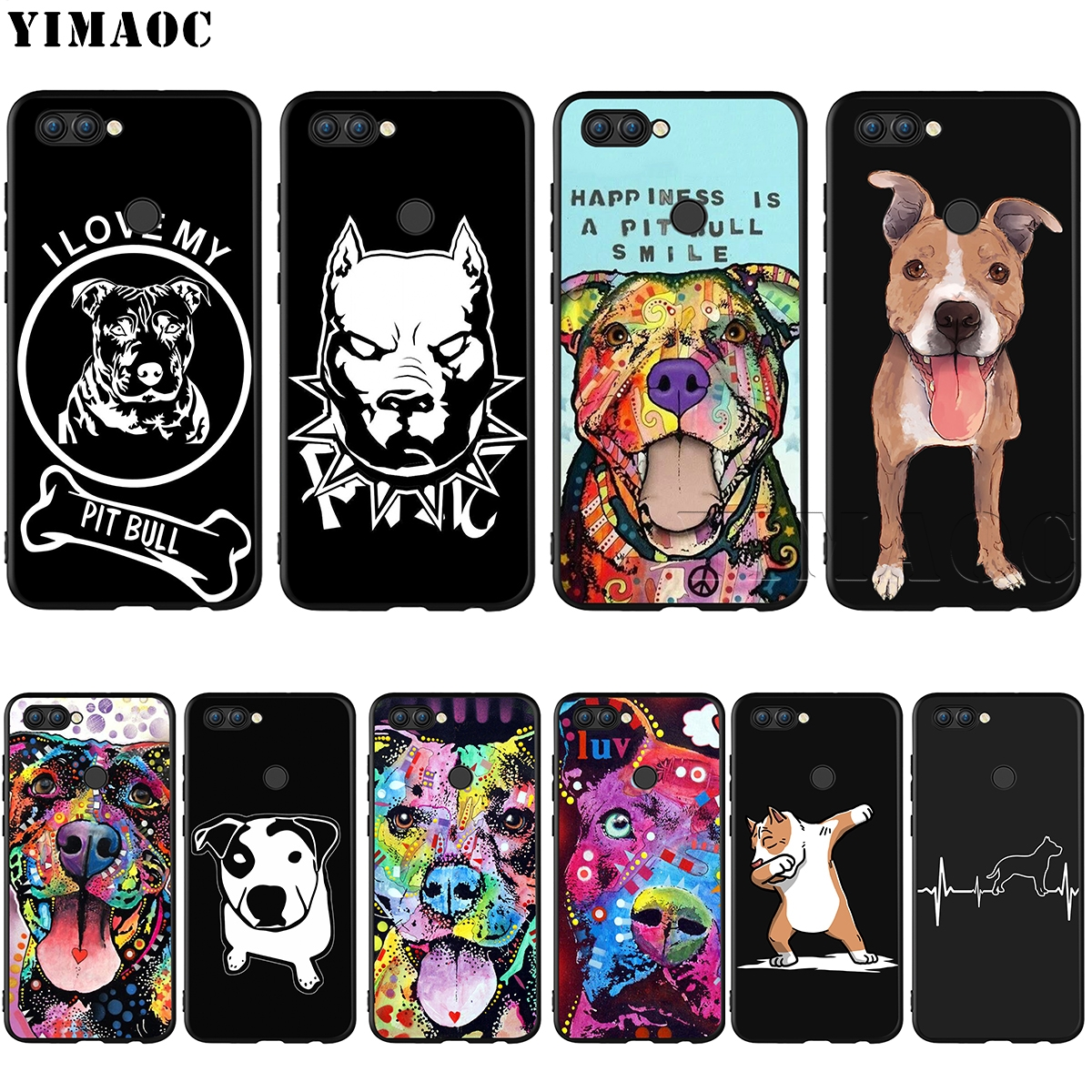 YIMAOC Pit Bull Pitbull Silicone Case for Huawei Honor Mate Y6 6A 8 9 10 P8 P9 P10 P20 P ...