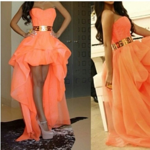 Sexy Sweetheart High Low Gold Belt Asymmetrical Front Short Back Long Peach vestidos de gala Prom Dresses 2019 prom dress