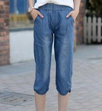 Tencel джинсы для женщин плюс размер ealstic талии вскользь кальсоны шаровары лето весна осень щиколотки женские брюки bsy0601