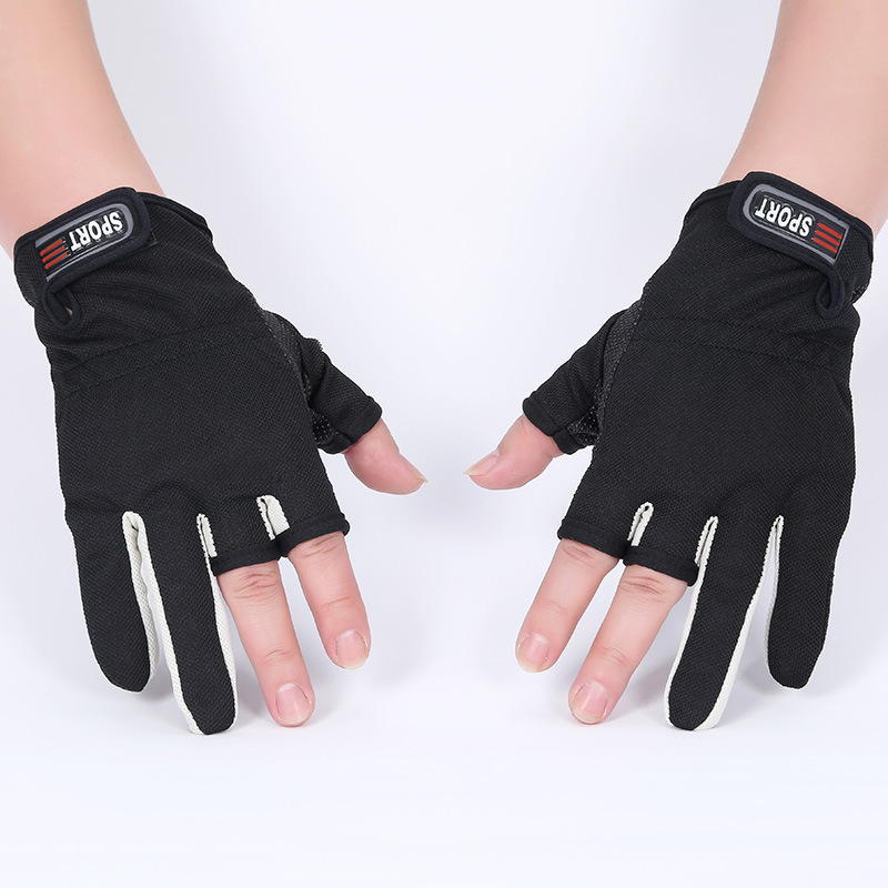 Fingerless exposed men women breathable fishing glove anti for Winter fishing gloves