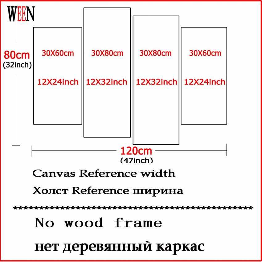 WEEN Bike Canvas Art 4Pcs Modern Flower Basket Wall Pictures Painting For Home Decorative Poster Printed On Canvas 2017 Gift