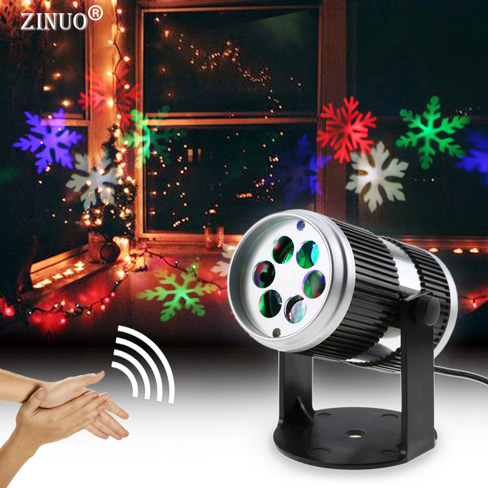 ZINUO Christmas Laser Projector Sound Activated Moving Dynamic Snowflake/Tree/Bell Pattern Decoration Lamp Laser Christmas Light yamaha yst 1000 sound projector дешево