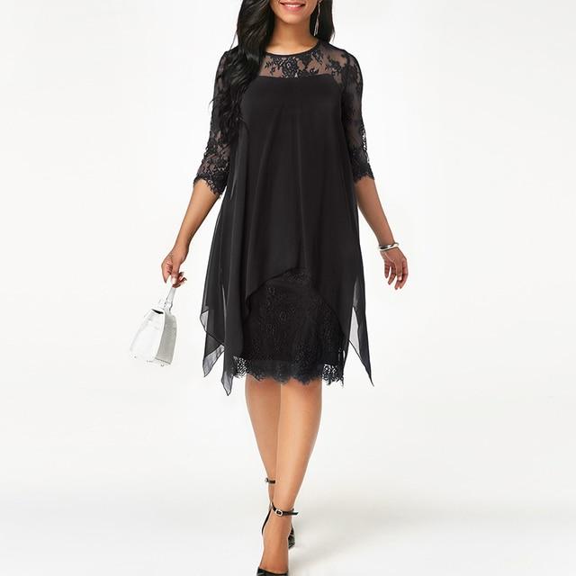 New Women Fashion Chiffon Overlay Hem Lace Dress 4