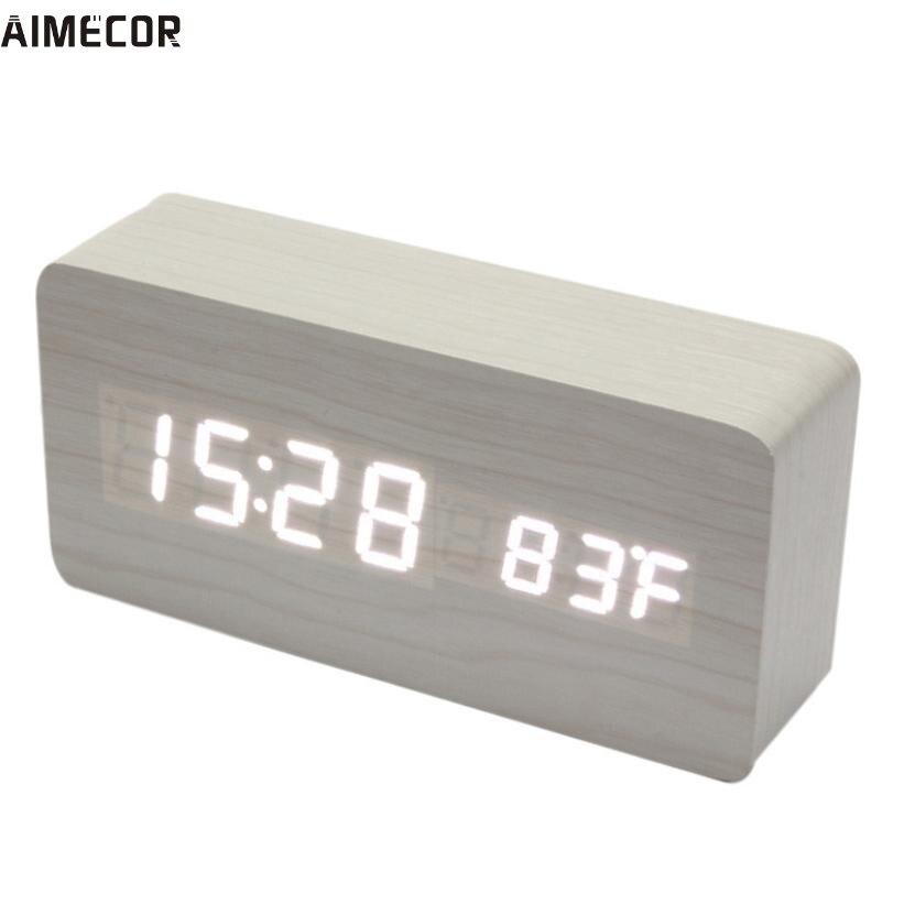 Aimecor Happy home Fashion Temperature Display Sounds Control Electronic Desktop LED Alarm Clock 1PC #