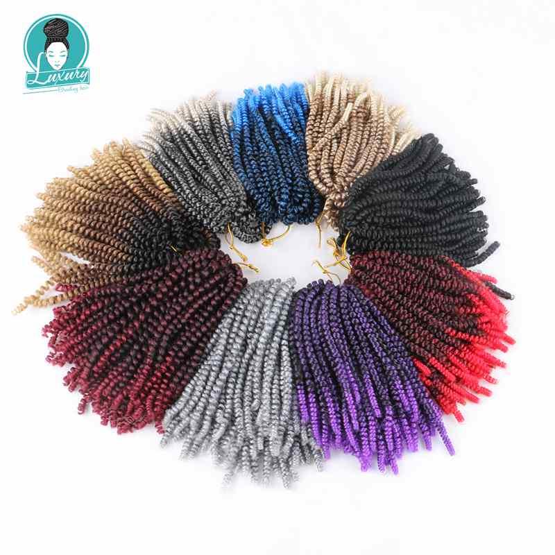 Luxury Fluffy Spring Twist Hair Extensions Black Brown Burgundy Ombre Crochet Braids Synthetic Braiding Hair 8 39 39 110g