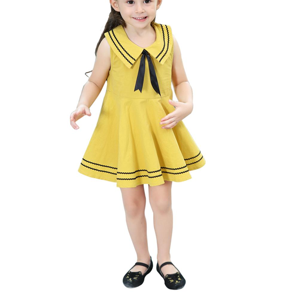 2018 Summer Girl Sleeveless Navy Dress Bow Princess Dress Children Clothing A-line Girl Dresses Girl Clothes Birthday Party children girls dress summer lace sleeveless holiday party wedding princess a line dresses girl clothes vestido infantil 2968w