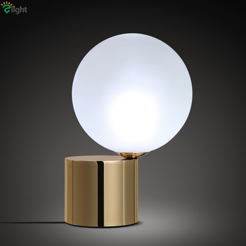 Nordic Frosted Glass Ball Brass Metal Led Table Lamp Minimalism Bedroom Study Room Reading Lighting Led Desk Light