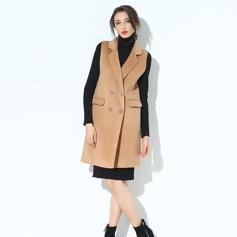 FRSEUCAG новый рукавов шерсть жилет женский вязаный однотонный кардиган тонкий моды с длинными Двусторонняя шерсть кашемировое пальто жилет