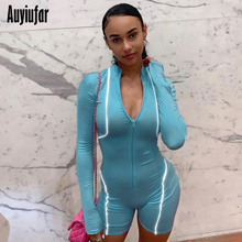 Auyiufar Reflective Women Sexy Long Sleeve Fitness Playsuit Lines Patchwork Short Rompers Deep-V Slim Body 2019 Female Bodycon
