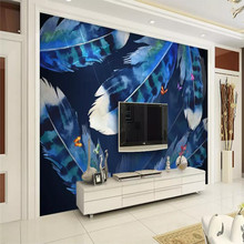 Personality fashion blue dream feather background wall professional production mural wholesale wallpaper custom photo