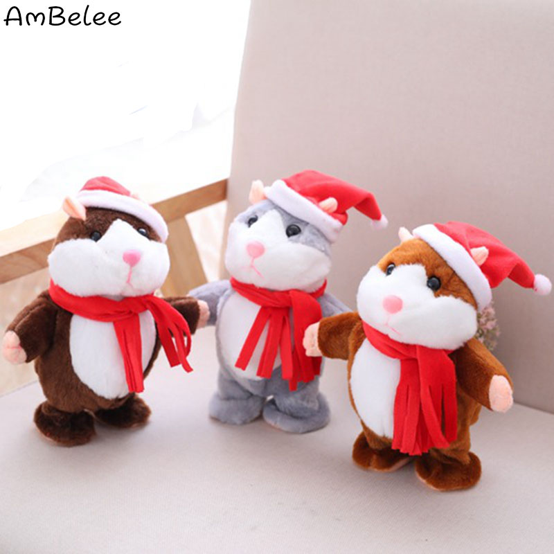 Ambelee Cute Talking Hamster Plush Toys Cartoon Speak Walk Electric Stuffed Animal Toys For Children Hamster Educational Toy ...