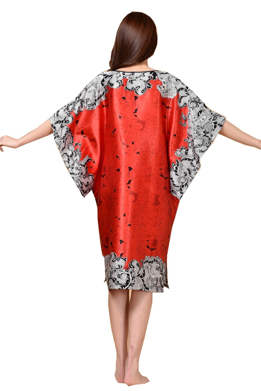 d7cf9379acdd1 US $13.75 46% OFF|Novelty Print Black Female Satin Robe Dress Nightgown  Novelty Women's Kaftan Bath Gown Summer Lounge Homewear Plus Size  TBWA582-in ...