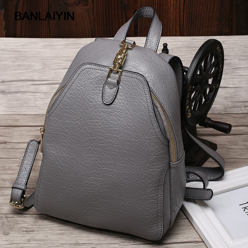 все цены на New Casual Women Backpack Genuine Leather Teenage Girls College Student School Shoulder Bag Women Travel Bag  Ladies Black Bags онлайн