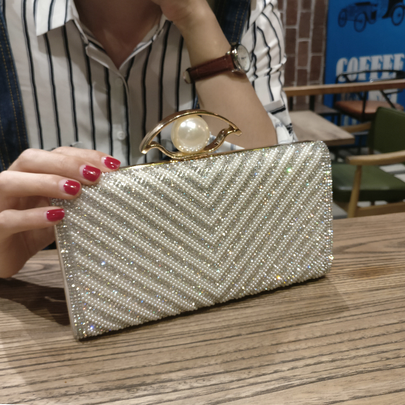 LYKANEFU Luxury Women Evening Bag Beading Clutch Purse Women Bag Frame Wedding Bride Day Clutches Ladies Hand Bag for Party