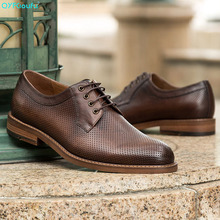 QYFCIOUFU Genuine Leather Shoes Men Dress Shoe Pointed Business Oxfords For Lace Up Designer Luxury Formal