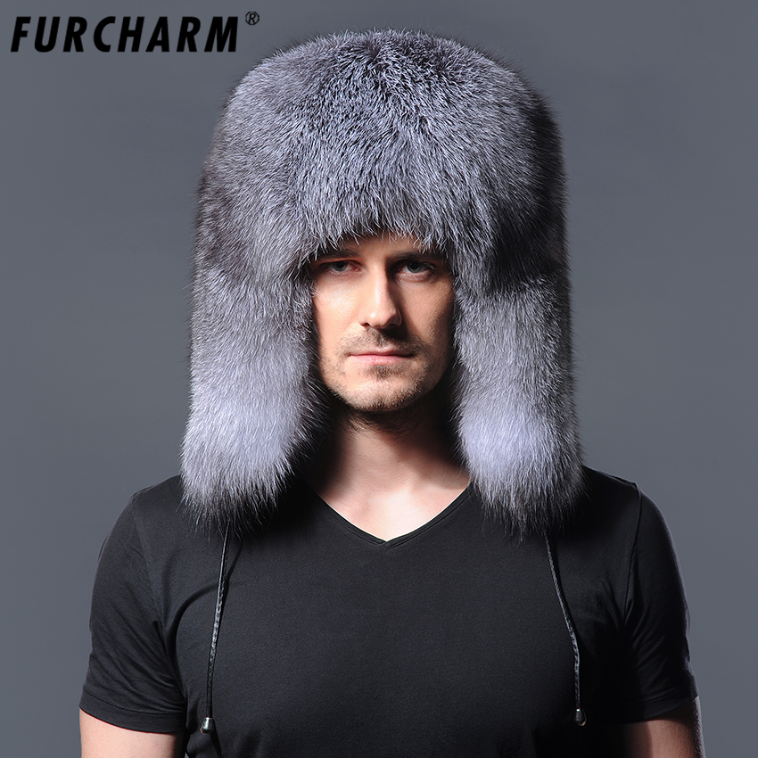 Winter Hats Real-Fur-Hat Ear-Flaps Men with Thick Whole-Piece Silver Fox-Fur for Natural
