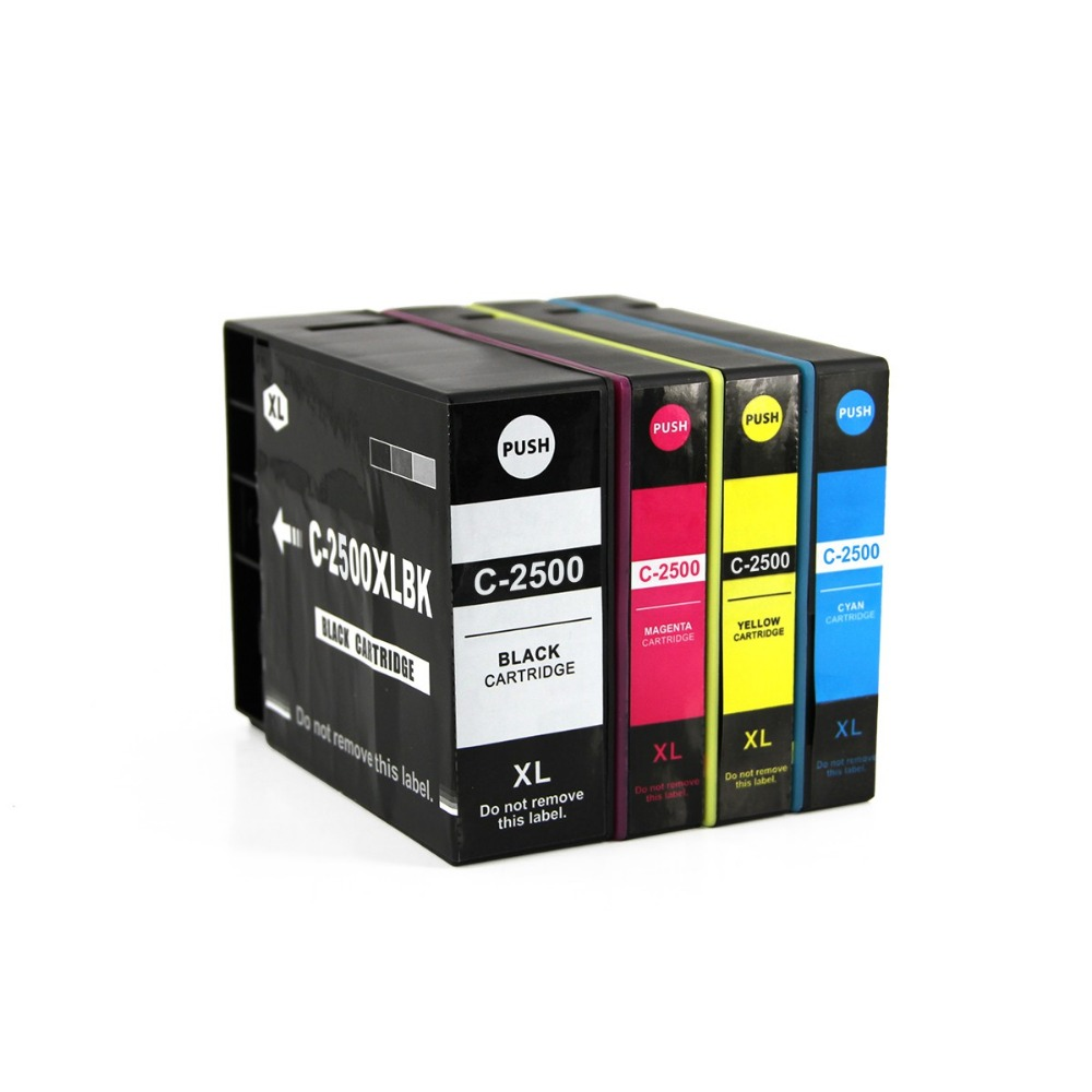 Genie Full ink 4pcs ink Cartridge For Canon PGI-2500 XL PGI 2500 Printer for Canon MAXIFY iB4050 MB5050 MB5350 With chip full ink 6 pcs ink cartridge t0771 t0772 t0773 t0774 t0775 t0776 for epsonr260 r380 r280 rx580 rx680 rx595