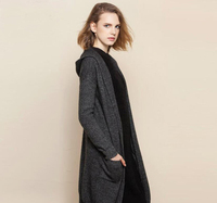 100 Cashmere Sweater Women Brown Red Khaki Gray Blue Cardigan Hood Turtleneck Solid Natural Fabric High