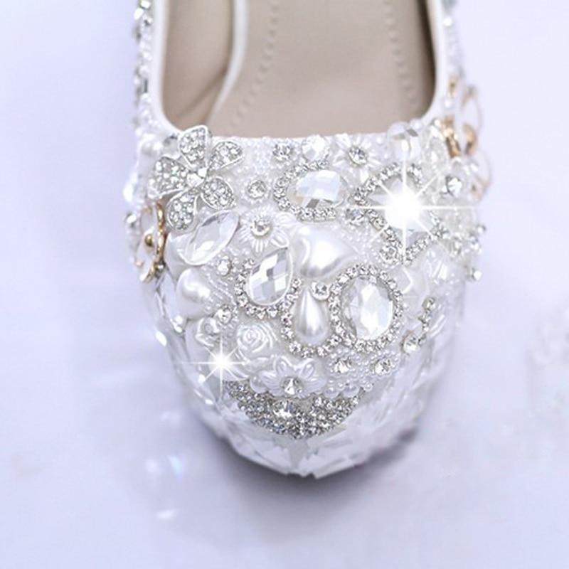 Main white Partie Mariée Blanc Heels Chaussures Style 12cm Perle Talon 10cm De Mariage Pompes Strass 14cm Haute Robe Magnifique White Nouveau Heels SqUPz