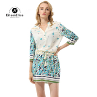 Eileen Elisa Fashion Dress Runway Casual 2018 Summer Dresses Elegant Vintage Print Dress Mini With Belts
