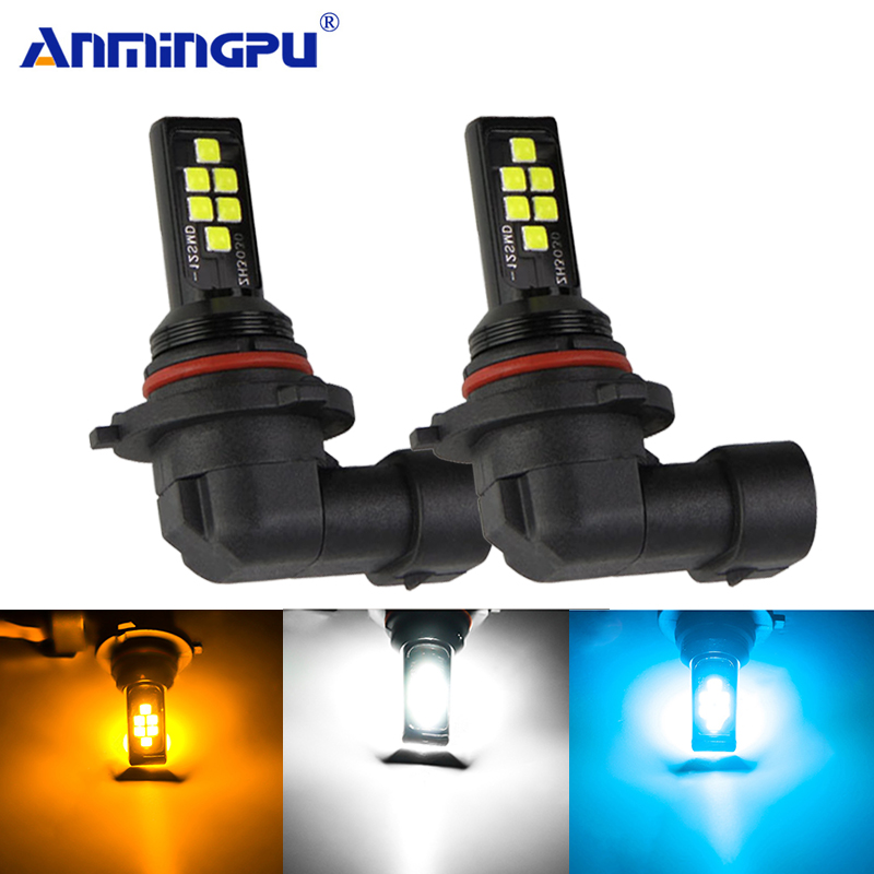 Anmingpu 2x Car Fog Lamp H9 H8 Led H11 H3 H1 H7 9005 HB3 9006 HB4 Canbus 2000LM Light Bulb 3000K 6000K 8000K