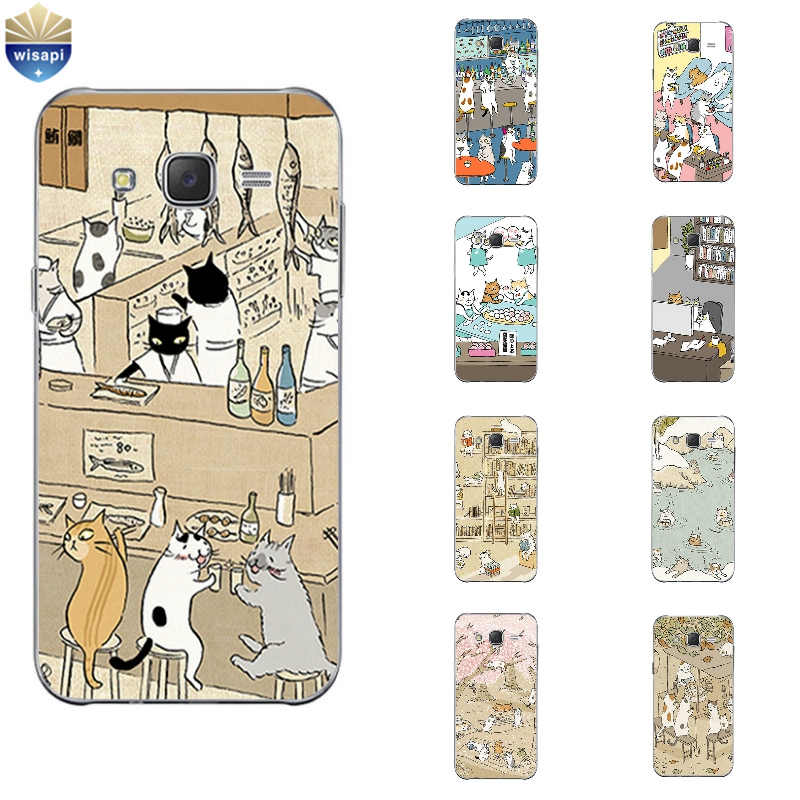 Phone Case For Samsung Galaxy J3 J5 J7 (2016) Back Cover Grand Prime G530 Shell Soft TPU Cellphone Cute Cat Drinking Design