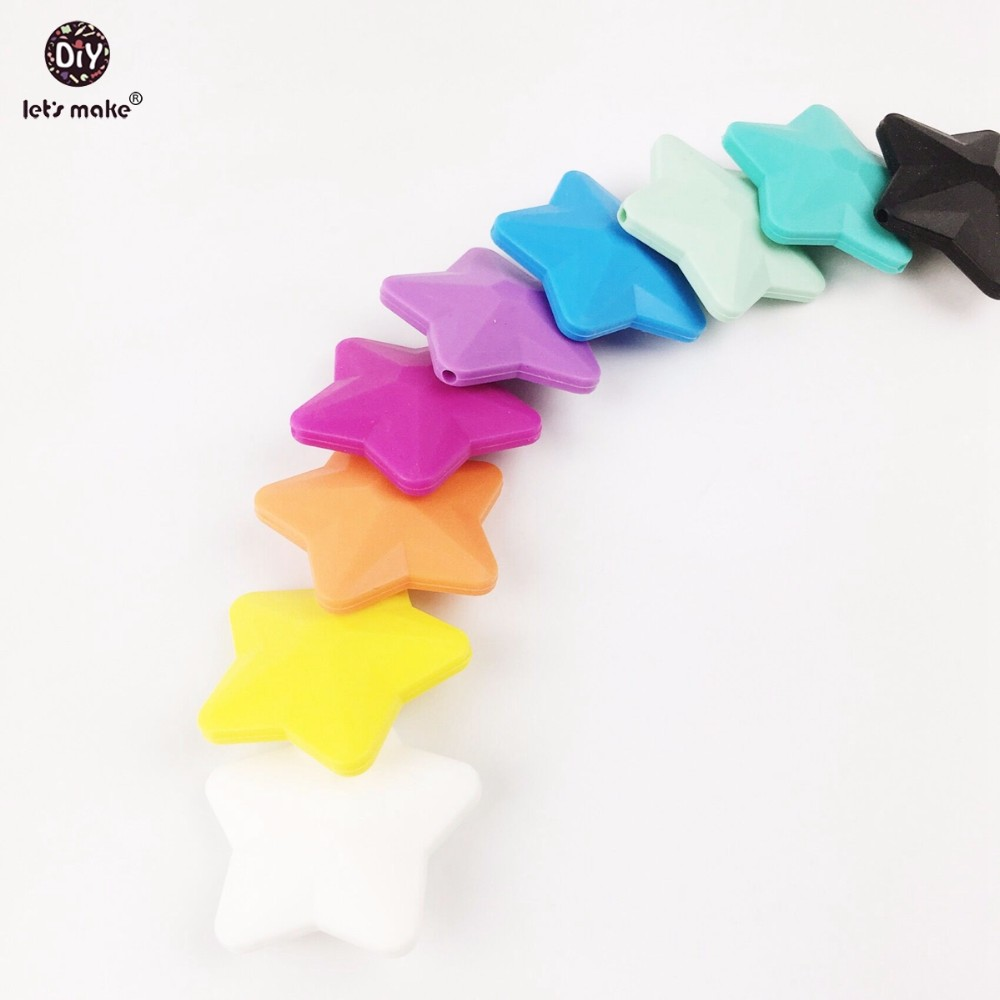 Lets Make Baby Teether Toys For Infants Pendant (20pc) 40mm Food Grade Materials Non-toxic Teething Necklace DIY Crafts Teether