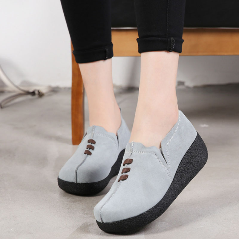 VTOTA Spring Autumn Women Moccasins Women's Flats Genuine   Leather   Shoes Woman Lady Loafers Slip On   Suede   Shoes Mocasines Mujer